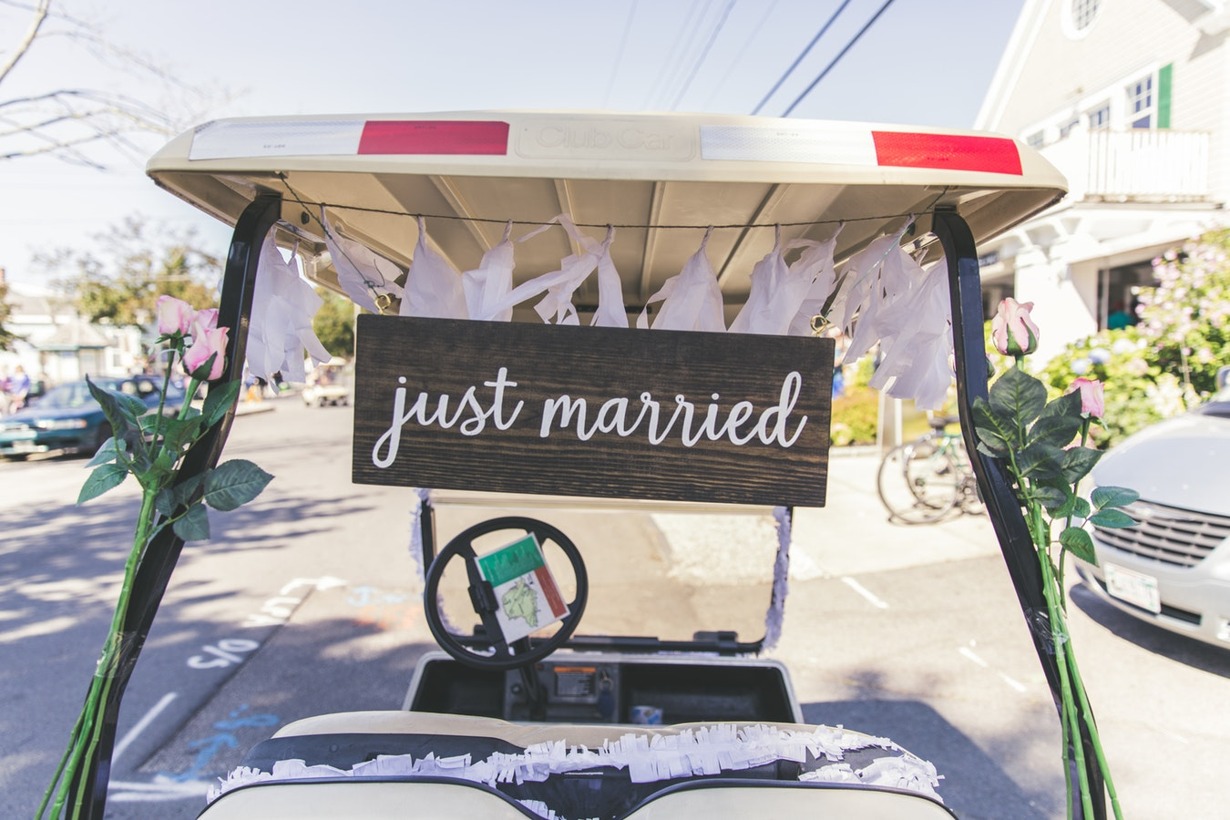 go kart with 'just married' sign.