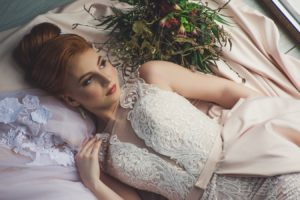 bride laying down.