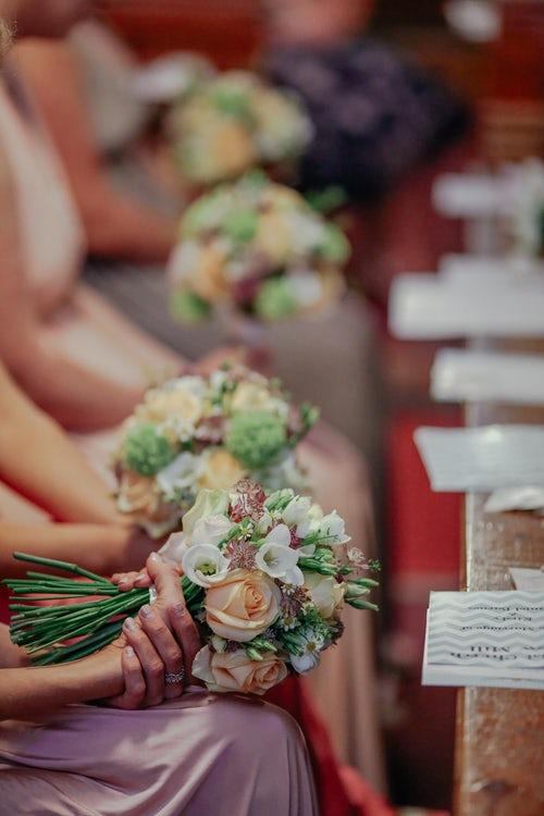 bridesmaids at table.