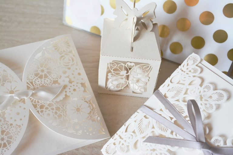 white gift boxes in lace.